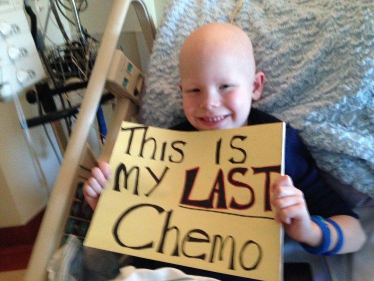 Mason's last chemo in May 2014.